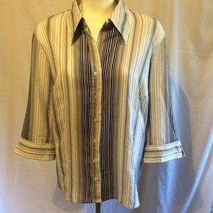 Black White Stripe Button Down Collar Top Size 2X